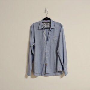 Ted Baker Blue Plaid Dress Shirt